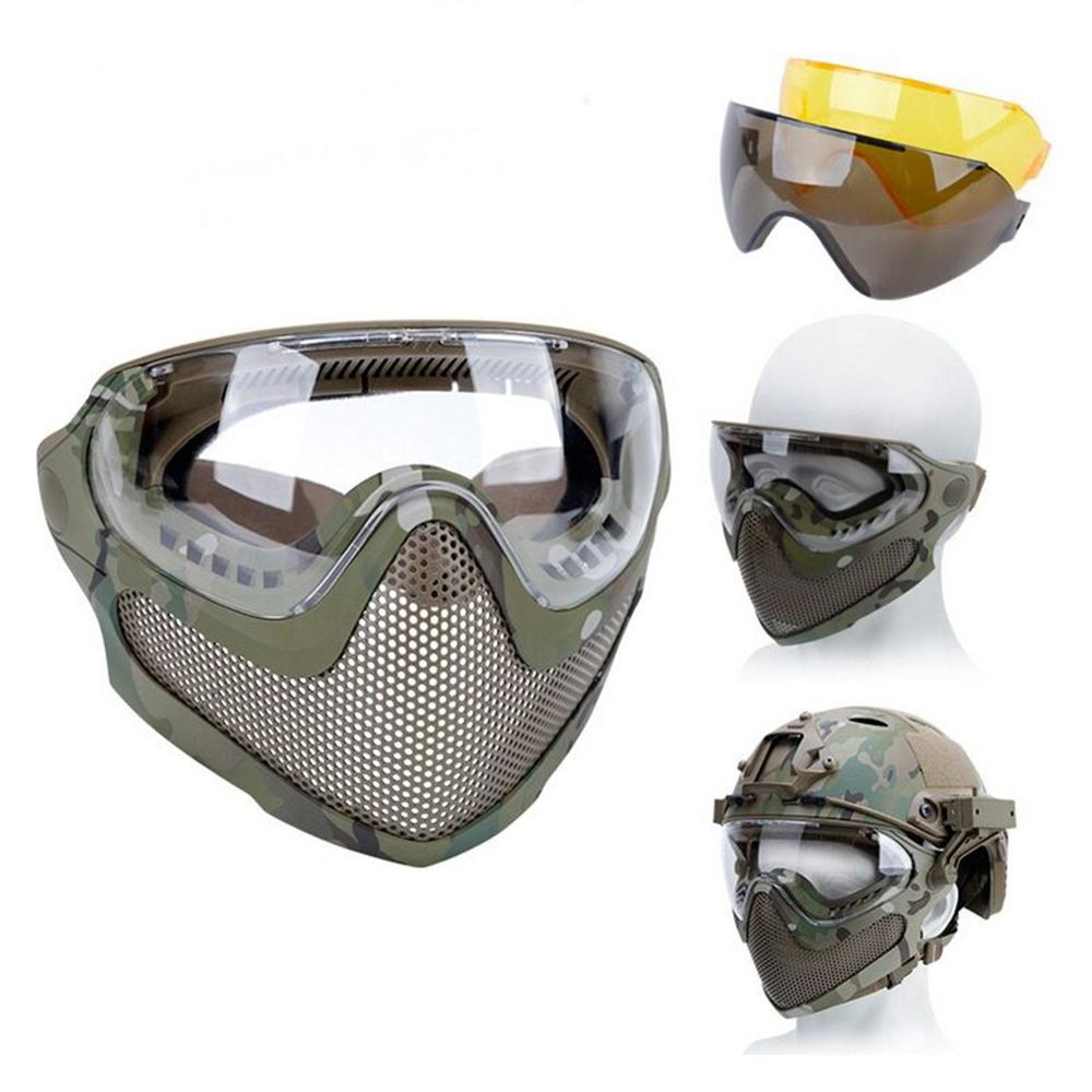 Airsoft Paintball Hunting Mask Anti-fog Goggle Tactical Combat Mask Full Face Mask Military Protective Masks