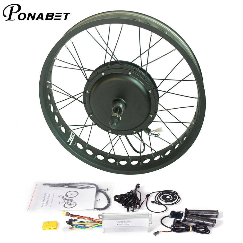 "48v 1500W 26 ""Borstelloze Non Gear Hub Motor Elektrische Sneeuw vet fiets Ebike Conversion Voor Achter Kit"
