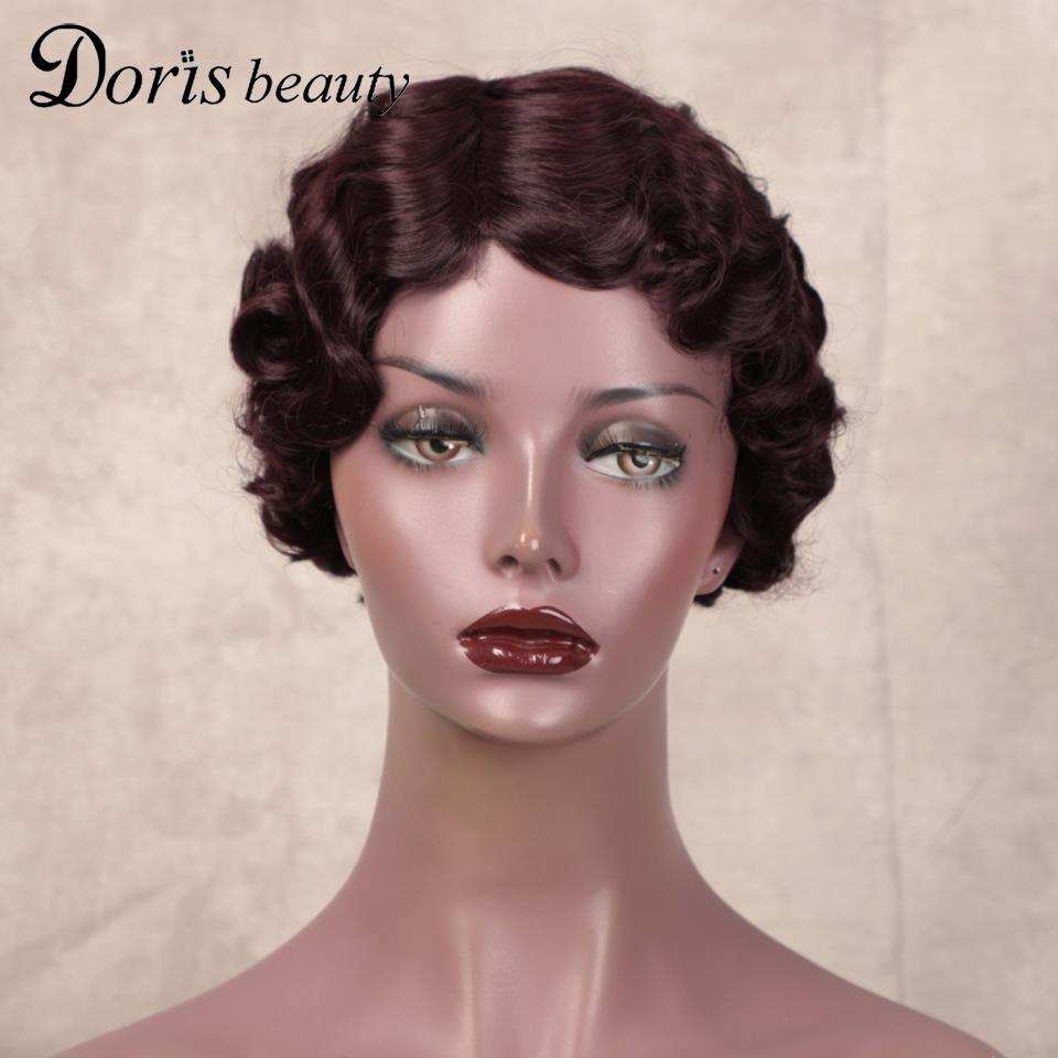 Doris Beauty Finger Wave Wigs Short Curly Hair Deep Wavy Wig Synthetic Wigs for Black Women Cute Nuna Wig Real Retro Red Blonde