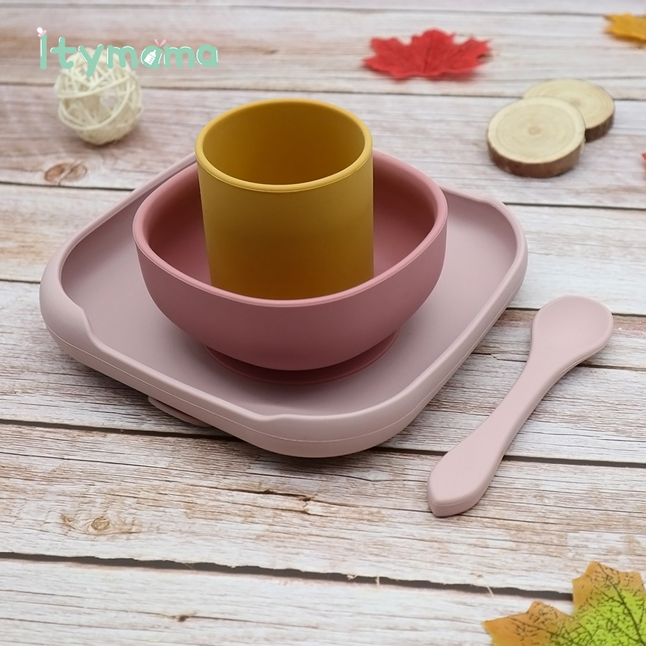 4pc Baby Silicone Plate Set Kids Bowl Plates Baby Feeding Silicone Bowl Spoon Children's Dishes Kid Dinner Platos Baby Tableware