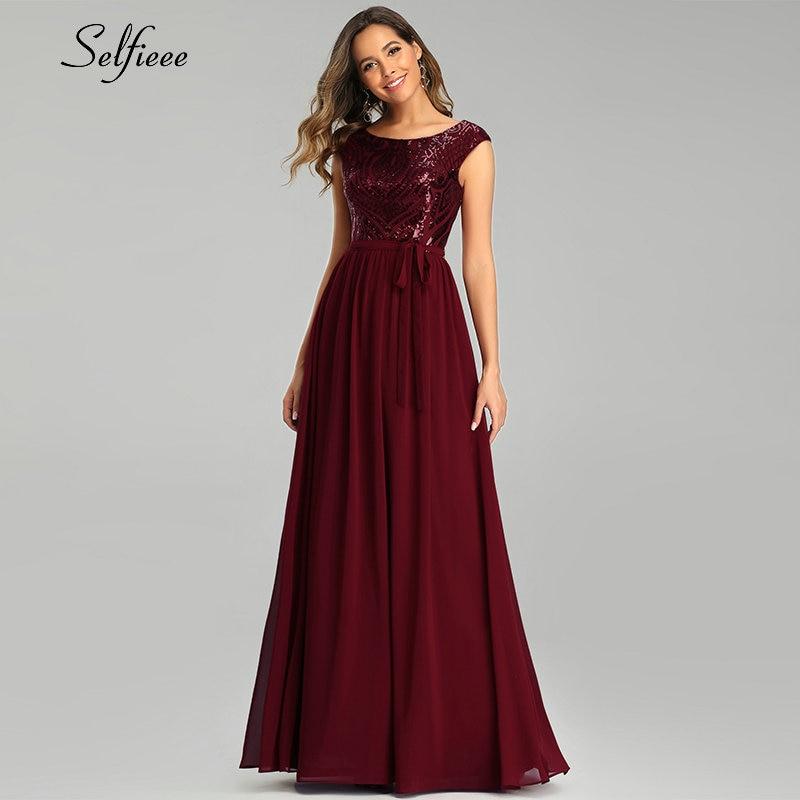 Elegante borgonha maxi vestido o pescoço a linha sem mangas arco faixas lantejoulas brilho vestido de verão longo vestidos de festa 2020