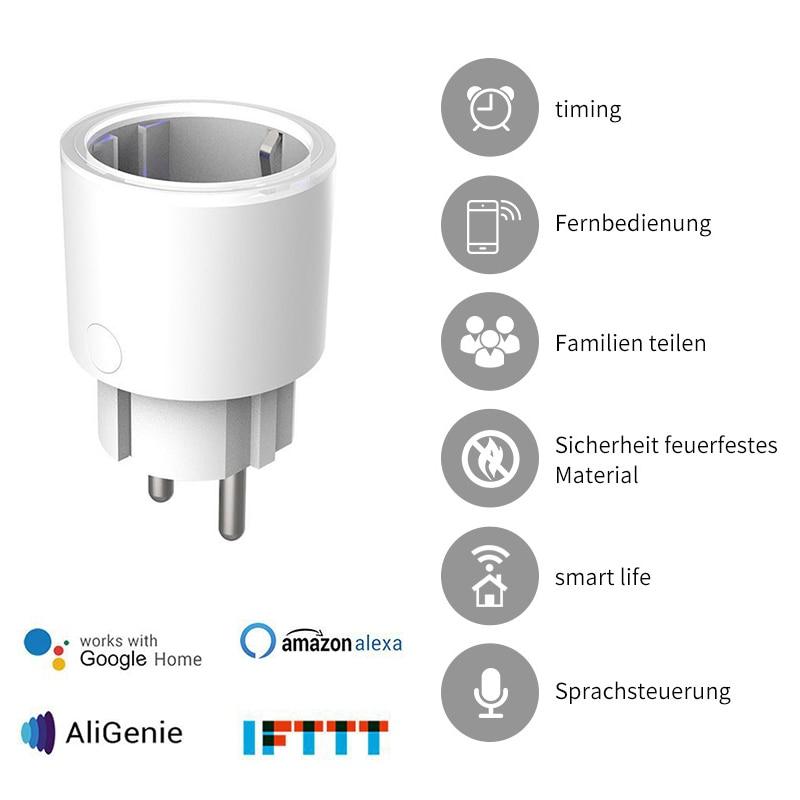 Interruptor de enchufe inteligente con WIFI, enchufe europeo, toma de tiempo inteligente, control de voz inteligente para la aplicación inteligente Tuya/APP smart Life