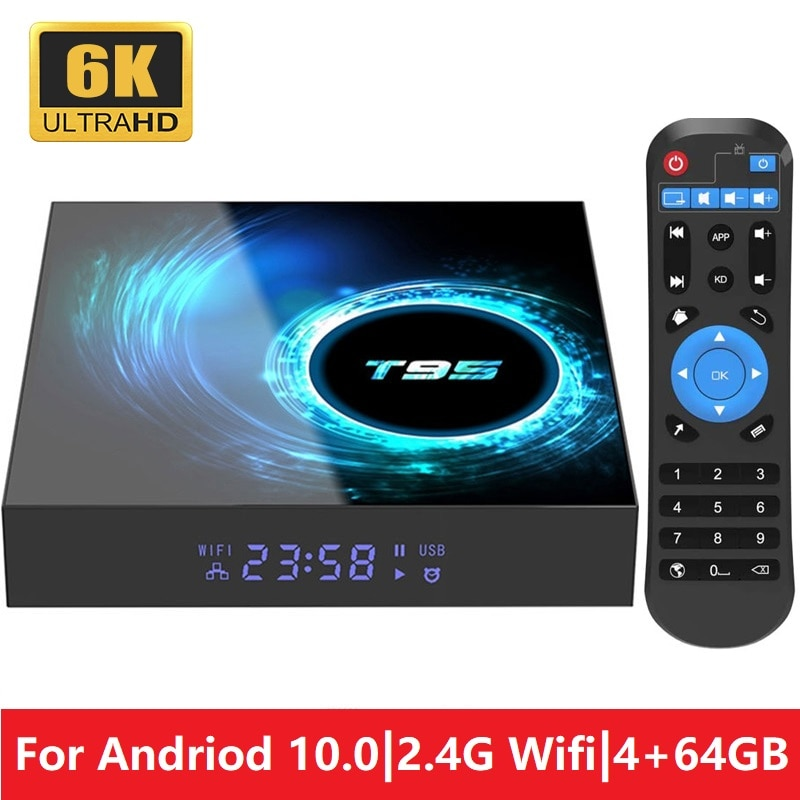 T95 أندرويد 10.0 مربع التلفزيون الذكية Allwinner H616 رباعية النواة 2.4G واي فاي 6K مجموعة صغيرة لاستقبال يوتيوب 2GB 4GB مشغل الوسائط