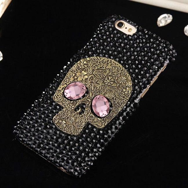 Skull Funda case Flip for iPhone XS 11 12 Mini PRO Max Xr X 8 7 6s 6 Plus Phone Diamond for iPhone SE 5 s 2020 Rhinestone Cover