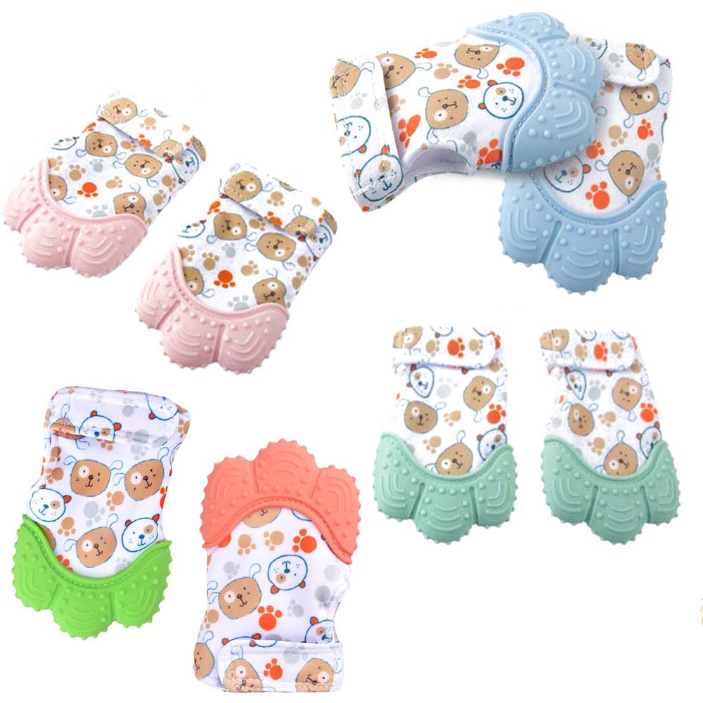 1Pcs Baby Silicone Mitts Teether Teething Mitten Newborn Chewable Nursing Mittens Stop Sucking Thumb Toy