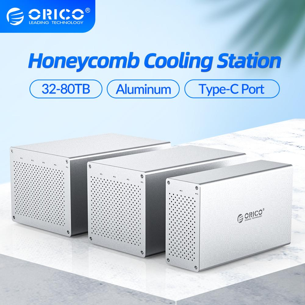 ORICO Honeycomb Cooling Multi Bay 3.5'' Type-C Aluminum HDD Docking Station 32-80TB HDD Enclosure With 7 Raid Mode SATA to USB C