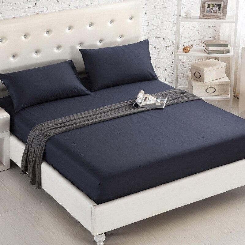 Drap-housse de lit de couleur unie avec bande élastique, drap-housse pour matelas Double Queen Size 160cm x 200cm, 100% Polyester, 1 pièce