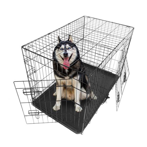 "36 ""mascota perrera perro gato plegable caja de acero Animal Parque jaula de Metal de alambre para perro conejo Hutch"