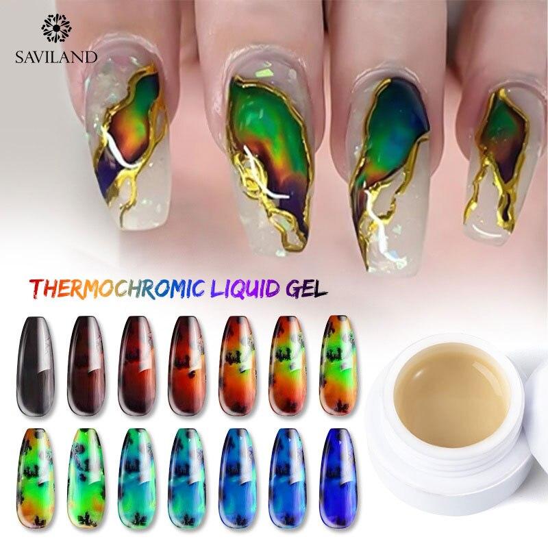SAVILAND Hot Sale Thermal Sensitive Liquid Auroras Nail Touch Color Changing Liquid Gel Nail Polish Need Black Dark Primer