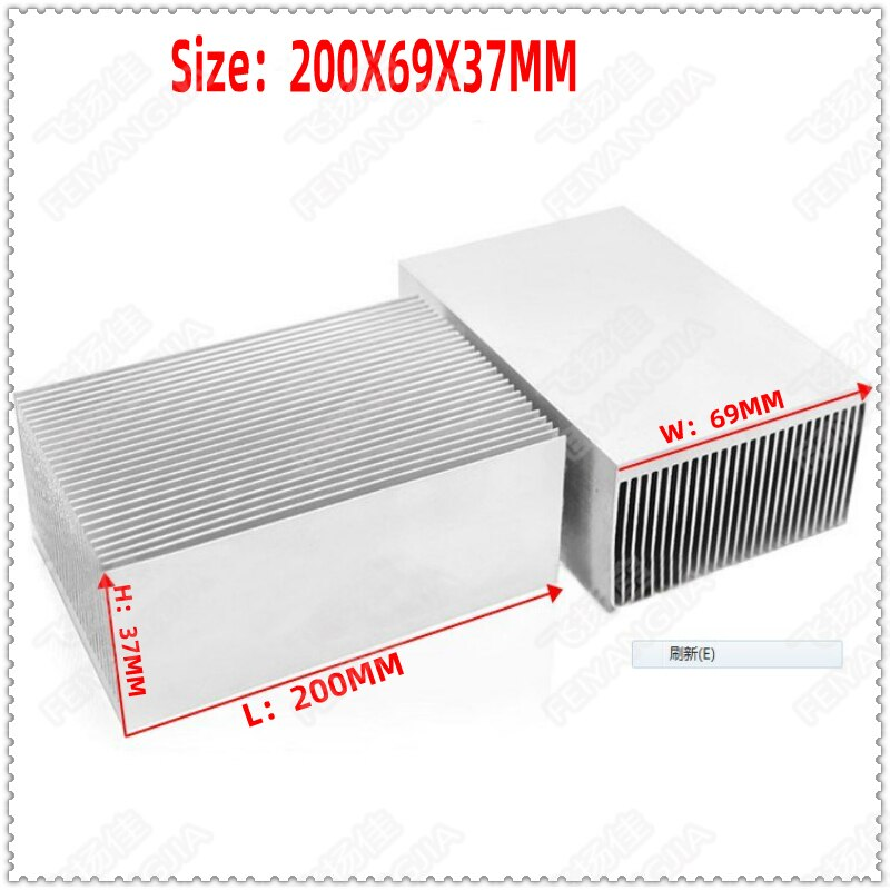 4 Uds. Aleta de aluminio denso radiador dentado/ventilador bloque para radiador 200*69*37MM LED fin