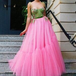 Youthful Pink Tulle Prom Dress Spaghetti Strap A Line Lace Flower Long Evening Cocktail Dress sukienki wizytowe Bbonlinedress