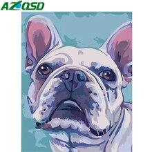 AZQSD peinture à la main par numéros sur toile Kits pour chiens cadeau Unique sans cadre peinture acrylique coloriage par numéros dessin animé décor pour la maison