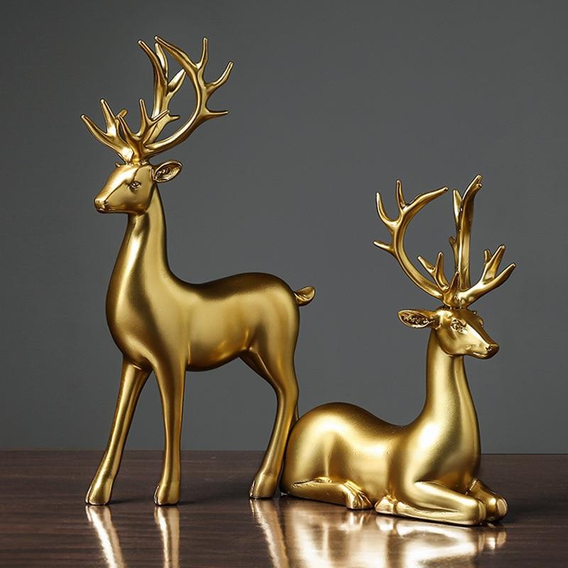 Олень из чистого золота, поделки из смолы, животные, украшения для влюбленных, олень светильник лые Роскошные настольные украшения для гост...