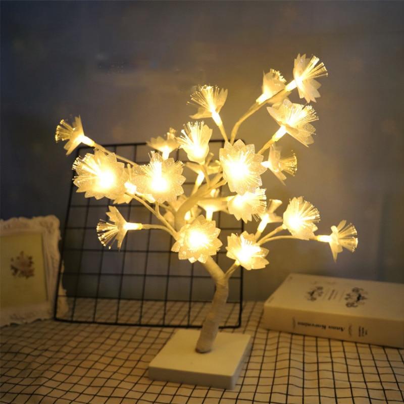 مصباح شجرة من الألياف البصرية على شكل زهرة ، إضاءة زخرفية داخلية ، مثالية لغرفة النوم أو غرفة المعيشة أو كهدية لعيد الميلاد.