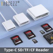 ! ACCEZZ устройство для чтения TF SD CF карт памяти 3 в 1, устройство чтения OTG, компактная вспышка для iPad Pro, Huawei, Macbook, кардридер Type C