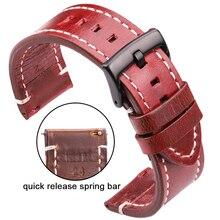 Couture à la main Vintage bracelets de montre hommes femmes en cuir véritable 18 20 22 24mm bracelet de montre en cuir de veau bracelet en acier inoxydable boucle