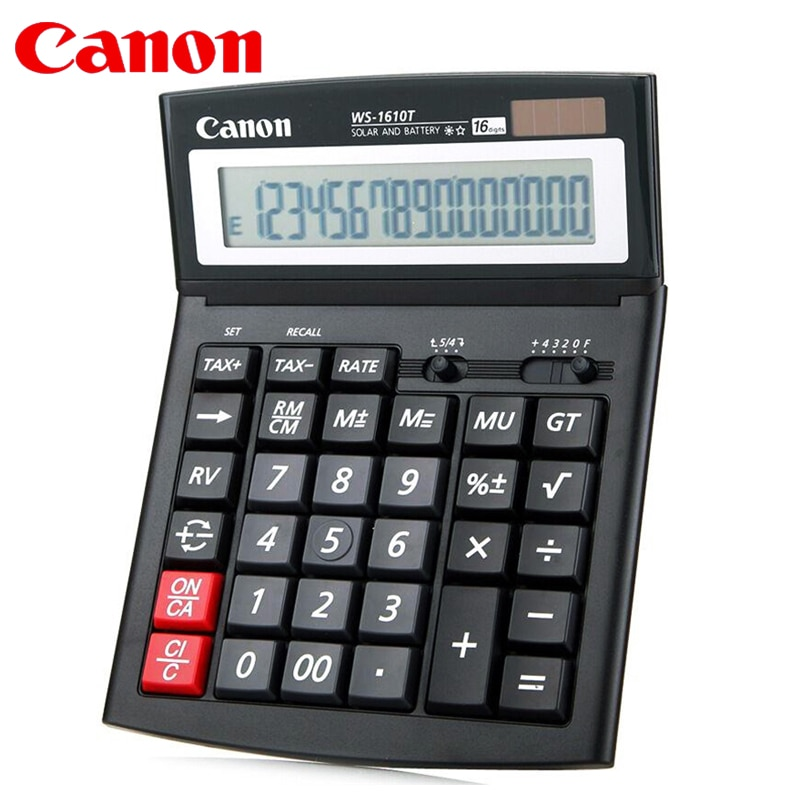 1pcs CANON WS-1610T Electronic Calculator Solar Business Financial Office 16-digit Large / Screen / Button Accounting Tax Rate
