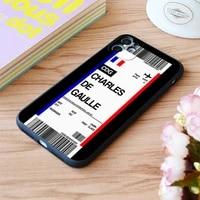 for iphone paris charles de gaulle boarding pass flight ticket print apple iphone case 6 7 8 11 12 plus pro x xr xs max se