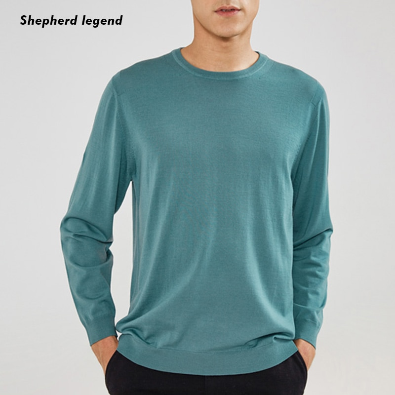 PAMIE 100% de cachemira pura Merino Superfina de cuello redondo de manga larga bajo de punto ropa de hombre caliente Top Jersey chaleco suéter