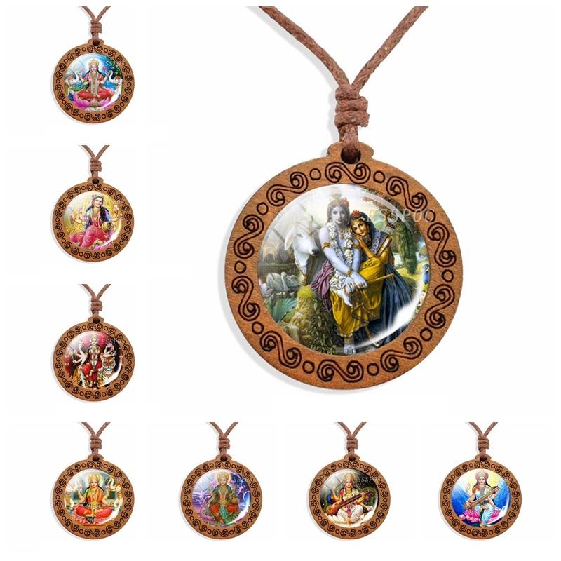 Indio amuleto colgante collar Lakshmi Shiva Ganesha foto cabujón colgante de vidrio Vintage joyería de collar de madera, regalo para ella