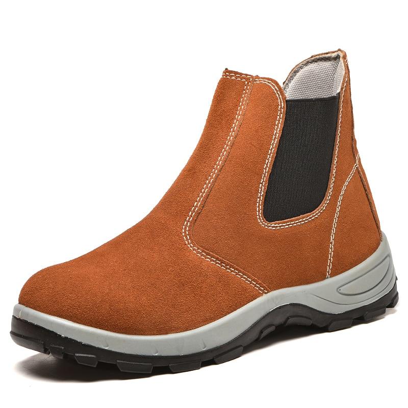 Botas de seguridad estilo inglés para hombre, calzado de trabajo de punta de acero, calzado de trabajo de cuero suave, botas de seguridad para tobillo chelsea botas