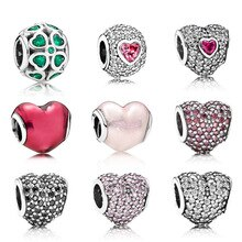 NEW 100% 925 Sterling Silver Classic Beads Love/Heart Charm Fit Bracelet DIY bracelet The factory wholesale