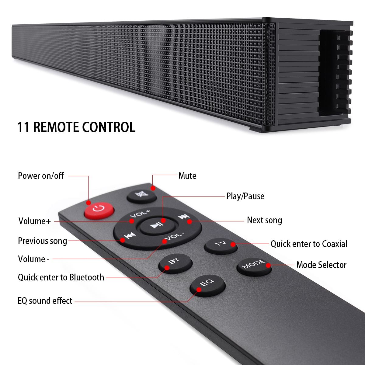 Beastun TV Soundbar Home Theater 40W Wireless Stereo Speaker Optical Coax ARC AUX Bluetooth Sound Bar Subwoofer for TV PC iPhone enlarge