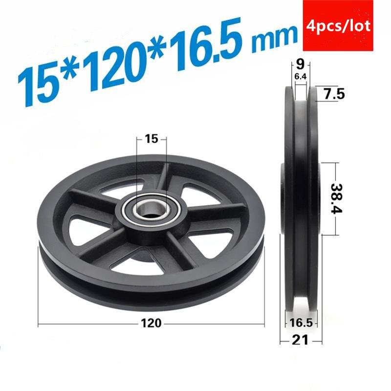4 قطعة 15*120*16.5 ملليمتر مُعلق أبواب بعجلات السكك الحديدية انزلاق الباب بكرة اكسسوارات النايلون المغلفة البلاستيك 6002 تحمل 15x120x16.5