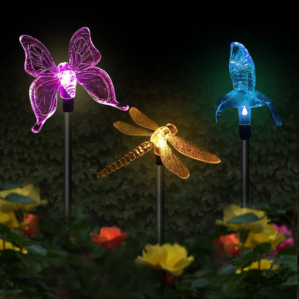 Multicolor led Solar Stake Lights Outdoor Dragonfly/Butterfly/Bird Lawn Lamps Outdoor Garden Lawn Landscape Pathway Lights enlarge
