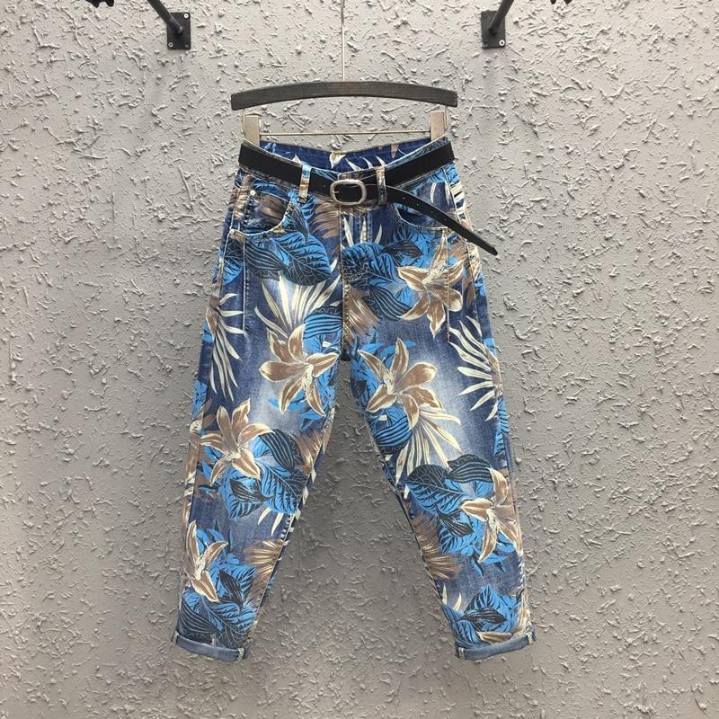 بنطلون جينز نسائي ربيعي ، ملابس مطبوعة ، كل شيء ، خصر عالي ، حريم ، غير رسمي ، طويل ، طول الكاحل