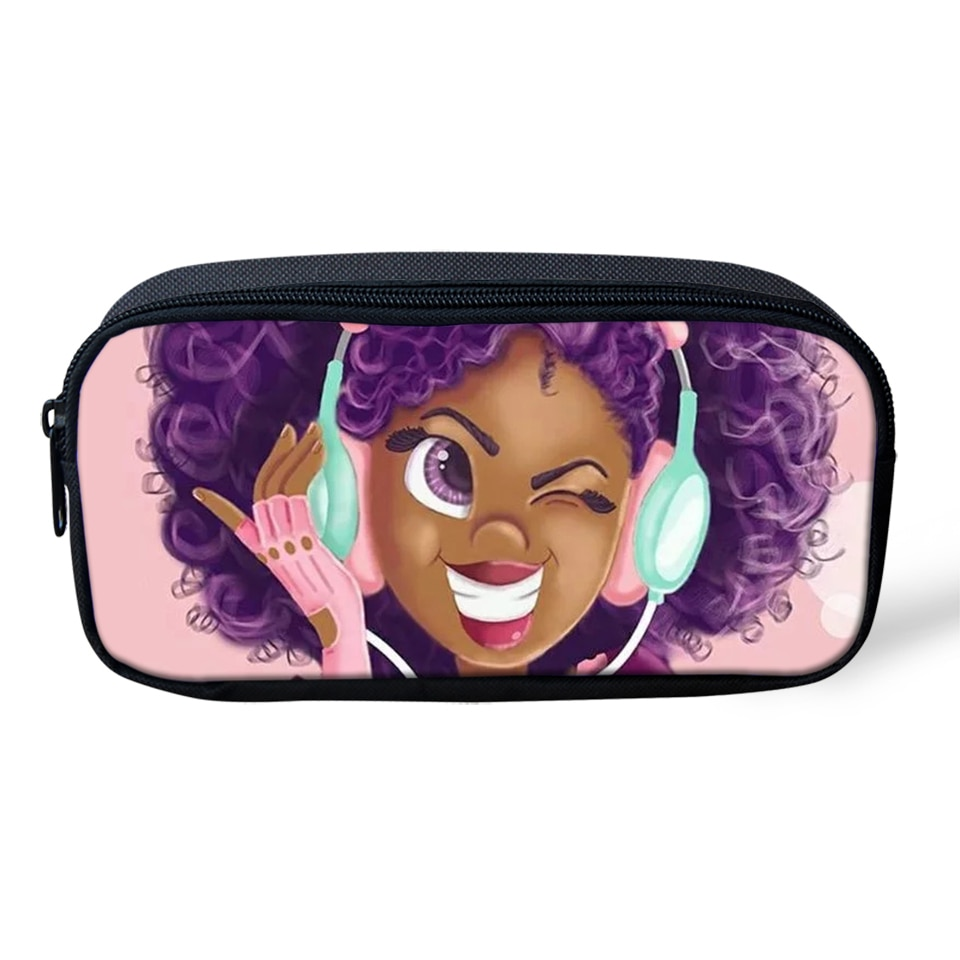HaoYun, bolsas de lápices de dibujos animados para niños, estampados africanos para niñas, bolsas de maquillaje de viaje para niñas, bolsas de lápices de diseño de artes Afro para estudiantes