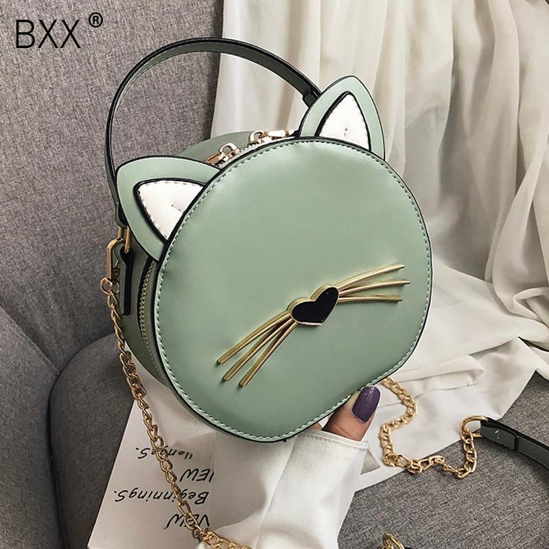 [BXX] Cute Cat Design Bag For Women 2021 Spring Summer Ladies PU Leather Messenger Crossbody Bags Female Travel Handbag HL612