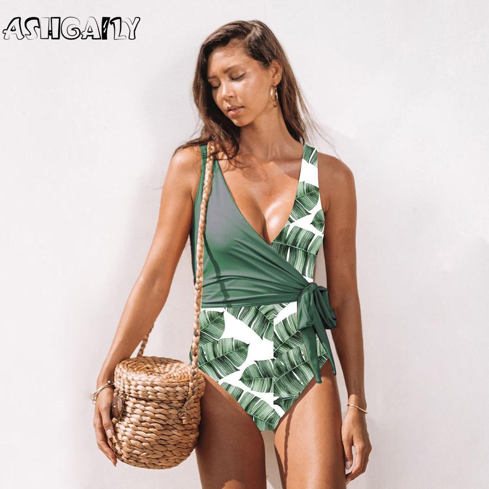 2020 nuevo traje de baño de una pieza para mujer de Patchwork Push Up traje de baño estampado de hojas traje de playa de alta calidad mujer Monokini body