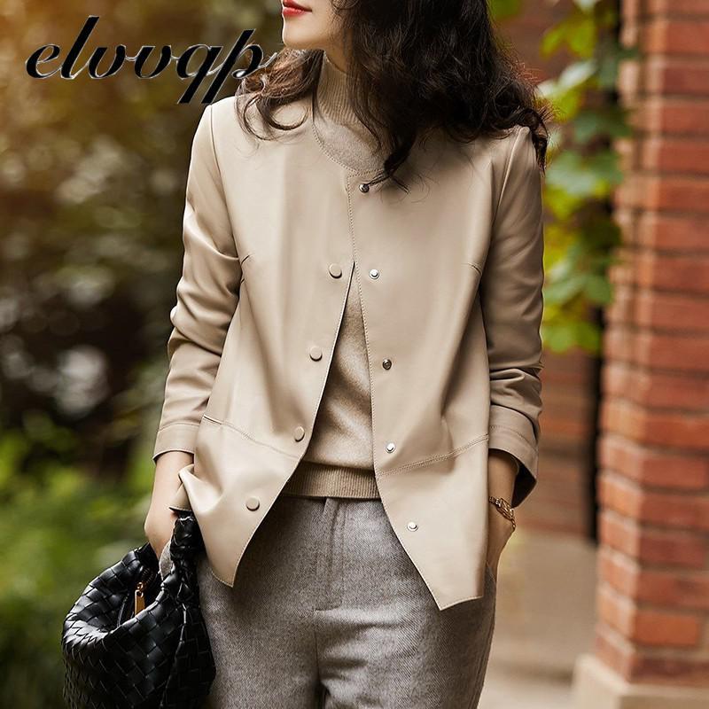 Khaki Black Leather Jacket Women Biker Jacket Leather Coat Women Office Work Good Quality Womens Pu Faux Leather Plus size 4XL