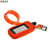 Silicone Protect Case Skin for Garmin Alpha 100 Alpha100 + Dog Collar Orange Strap for Garmin TT-15 TT15 Accessories