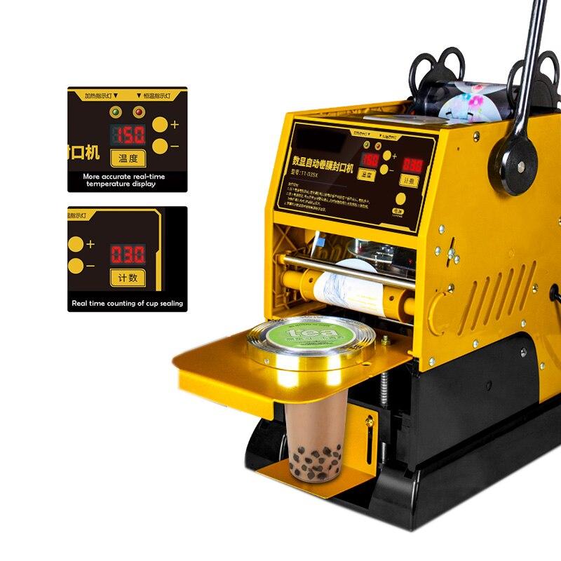 شبه ملء الأكواب آليا آلة الختم الكهربائية كوب الشاي باللبن مع قشة السدادة شاي فقاعات آلة للبلاستيك ورقة كأس 9 سنتيمتر 9.5 سنتيمتر