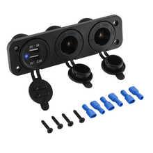 Multi-Function 12V Car Dual usb charger Auto Boat Cigarette Lighter Socket + Double USB Port Charger Mount Panel