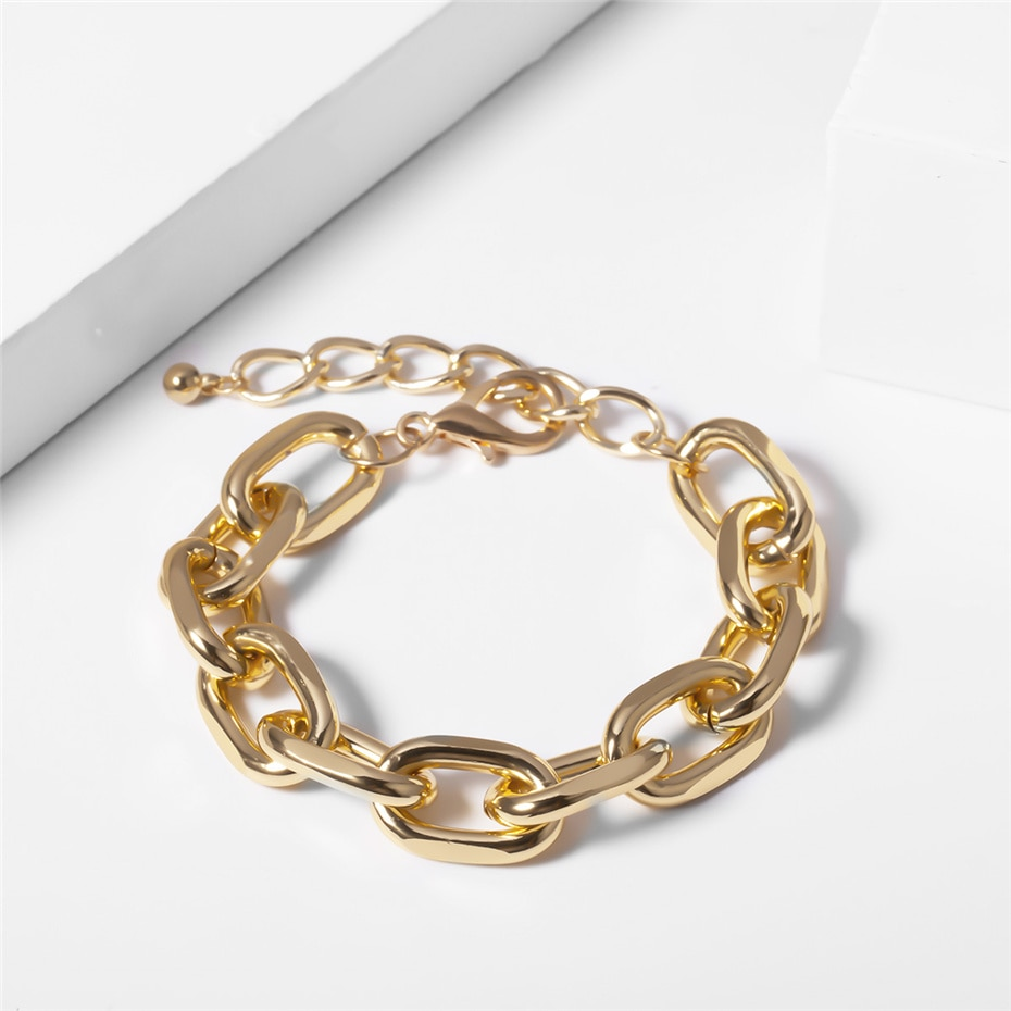 Купить с кэшбэком Hip Hop Punk Cuban Big Chunky Chain Necklace Bracelet NE+BA Steampunk Men Gothic Lock Twisted Choker for Best Women Jewelry Set