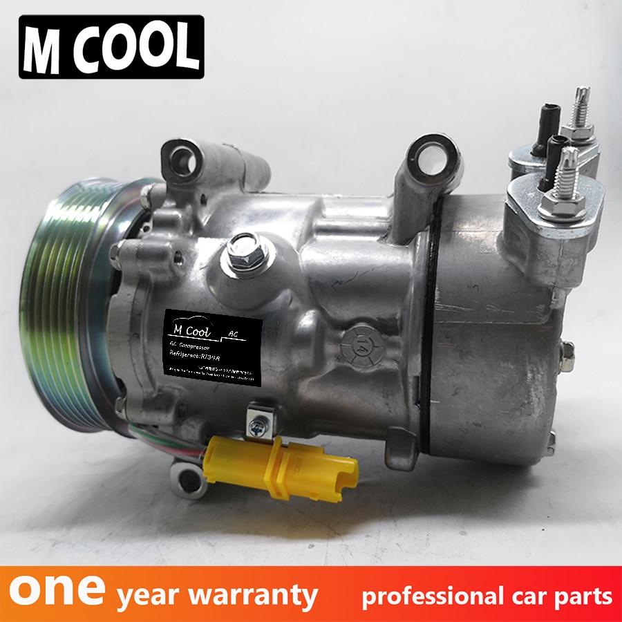 AC compresor para PEUGEOT 206 PEUGEOT 307 para CITREON C3 1998-2009 de 9646273880 6453LH 6453GZ 9646273380 6453LN
