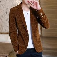 mens velvet blazers jacket one button smart casual slim fit coat single button men business casual jackets c10