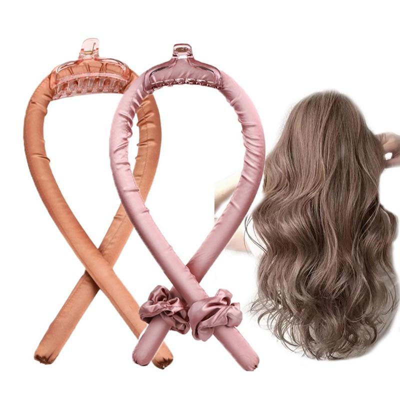 Hair Curler Set Women's Universal Curling Iron Heatless Curling Rod Headband No Heat Curls Silk Ribb