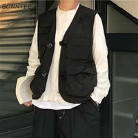 vests women japan style harajuku pockets design cargo chic teens sleeveless jacket street college unisex summer ladies outwear