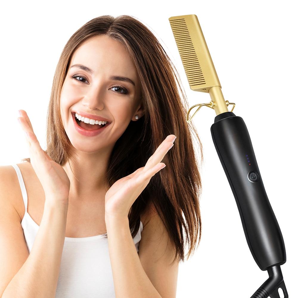 2021 جديد الشعر مستقيم مشط عصا الشعر الضفر الحديد الشعر بكرة الشعر مشط الشعر الحديد استقامة الكهربائية الساخن مشط مستقيم