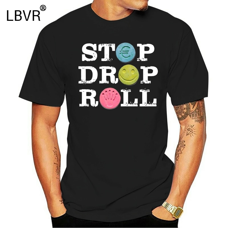 Top Stop Drop & camisa de Rock n Roll 31 camiseta drogas Ecstasy Molly Rave EDM ácido 100% algodón Geek familia Top camiseta manga corta