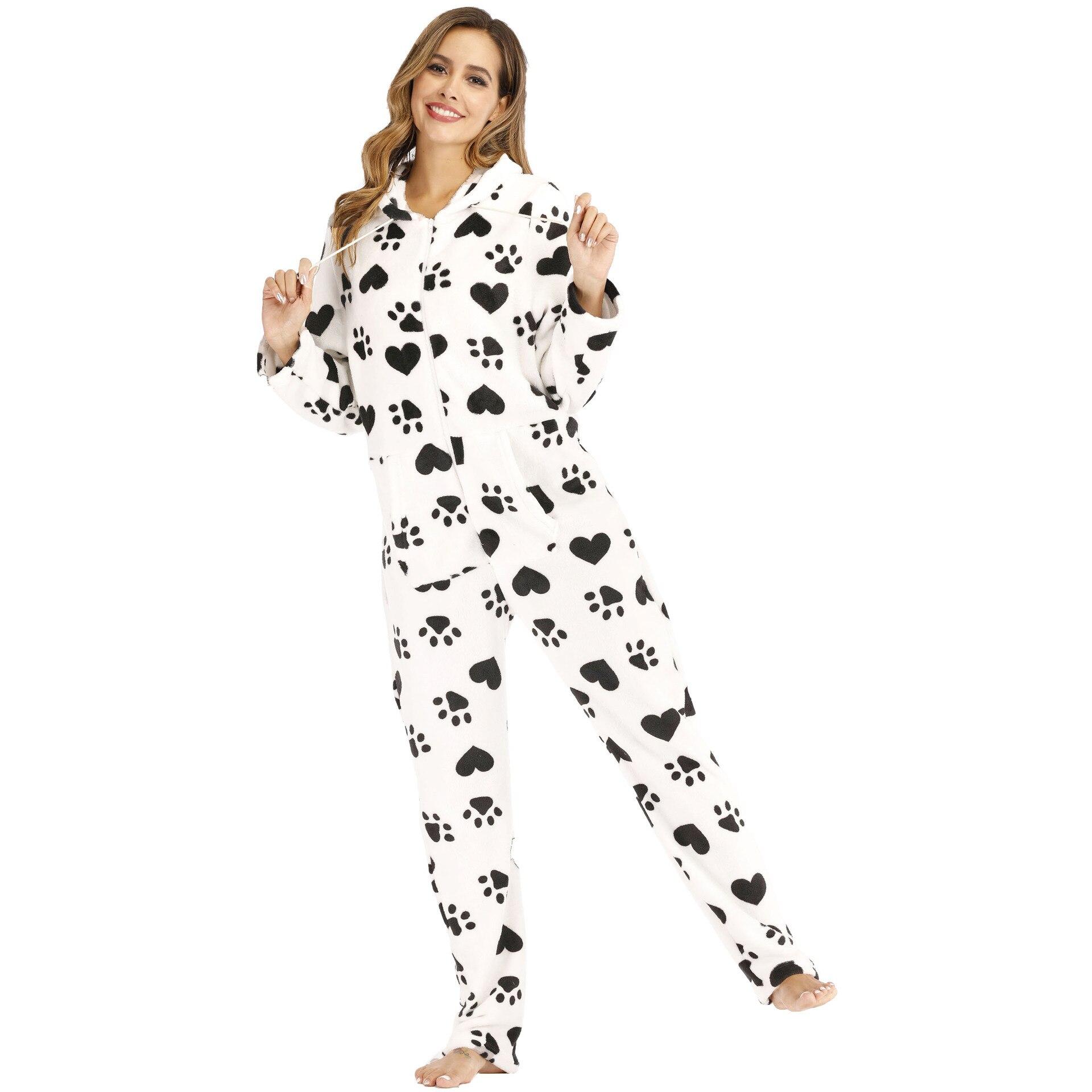 Europeu e Americano Flanela com Capuz Pijamas de Uma Serviço de Casa Feminino Pegadas Amor Impresso Peça