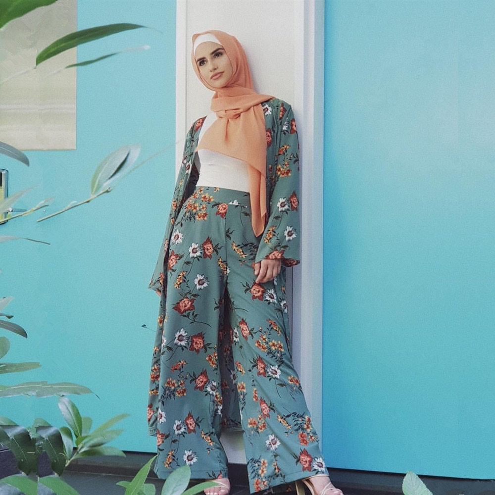 Two Piece Set Top and Pants Women Cardigan Wide Leg Pant Sets Dubai Muslim Print Floral Islamic Clothing Lace-up Slim Abaya 2020
