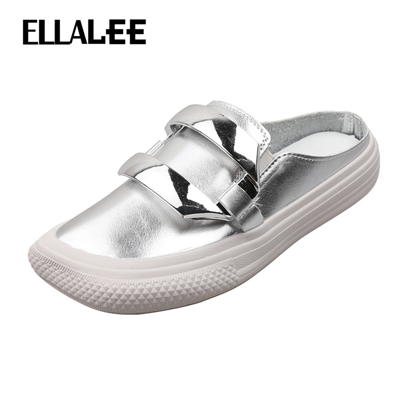 ELLALEE Women Summer Sandals Slip on Bright Silver Modern Style Daily Female Flats Square Toe Special Comfortable Woman's Shoes