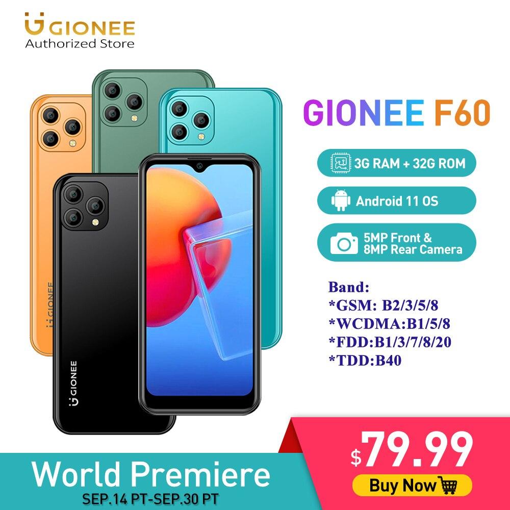 GIONEE F60 6.088 Inch Android 11 Smartphone 3G 32G Quad Core Mobile Phone 5MP+8MP Cameras Cellphone Cubot Ulefone Realme Umidigi