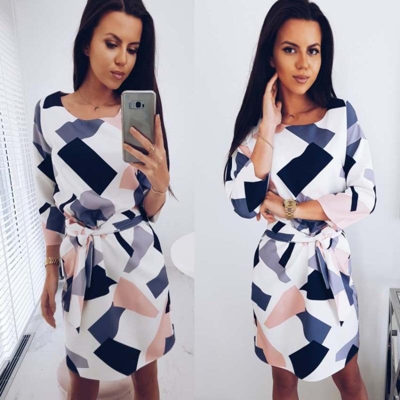 2021 mini dress geometric print belt pocket autumn dress woman three-quarter sleeves o-neck autumn casual loose straight