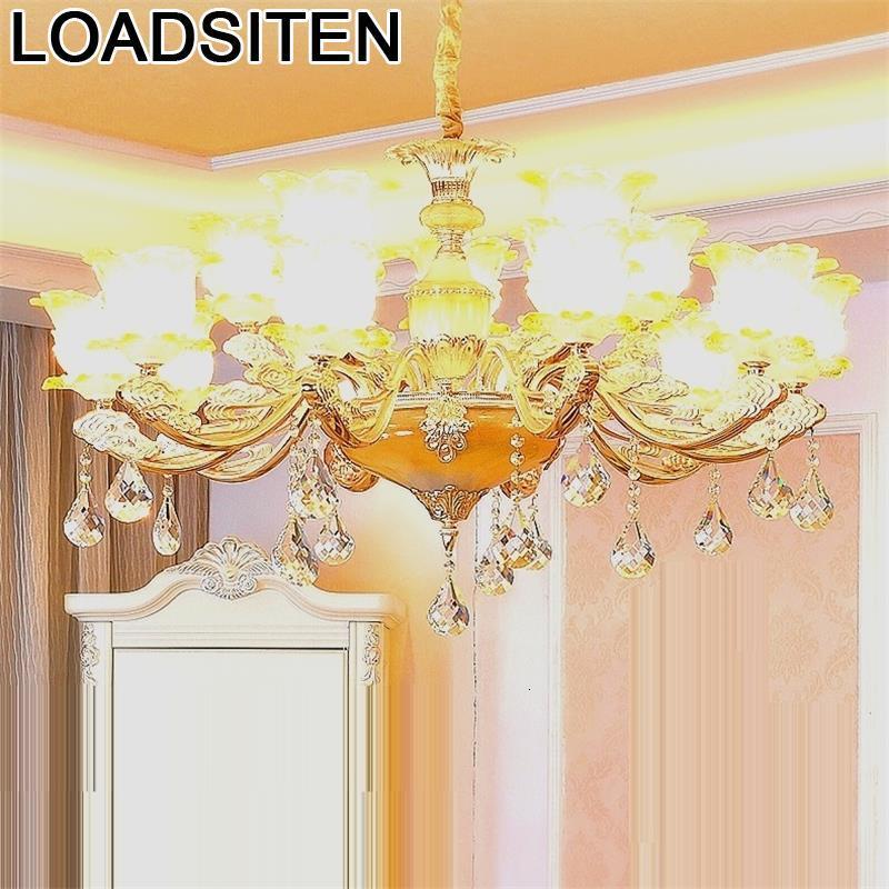 Luminaire décor industriel lumière De chair Lustre en cristal E Pendente Para Sala Jantar De Techo Moderna Lampara Colgante suspension